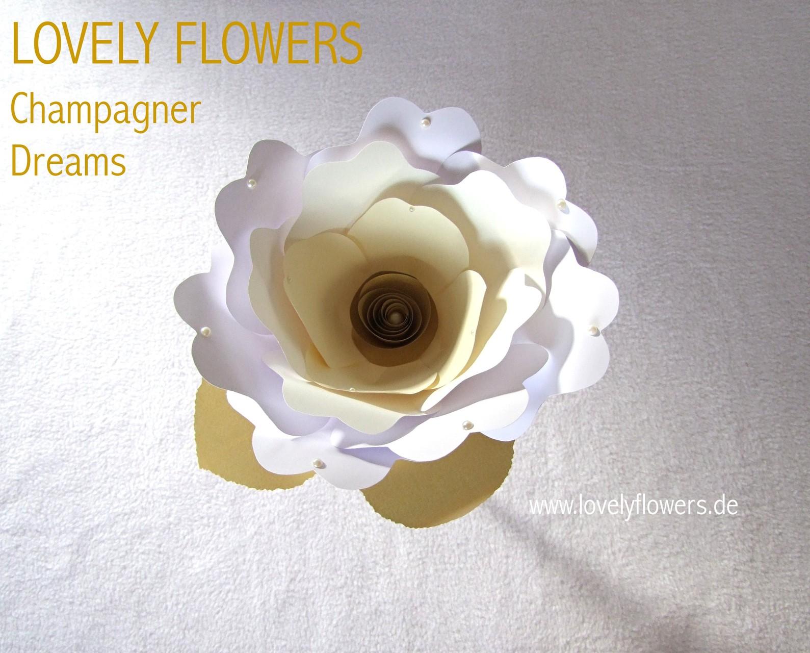Paper-Art Glasaufsatzblüte von www.lovelyflowers.de zum Champagnerempfang im Mozarteum/Salzburg/Österreich