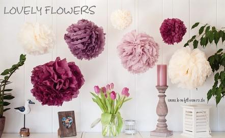 www.lovelyflowers.de - Dein Spezialist für PAPER-ART-Blumen Deckendekko!