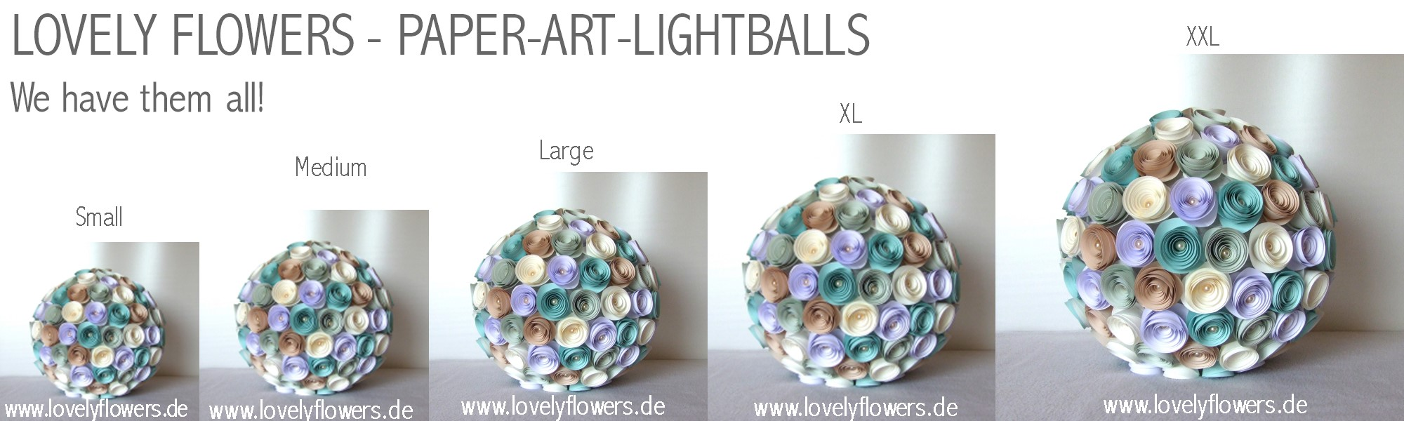 www.lovelyflowers.de - Paper Art Lampen gibt es in S - XL!
