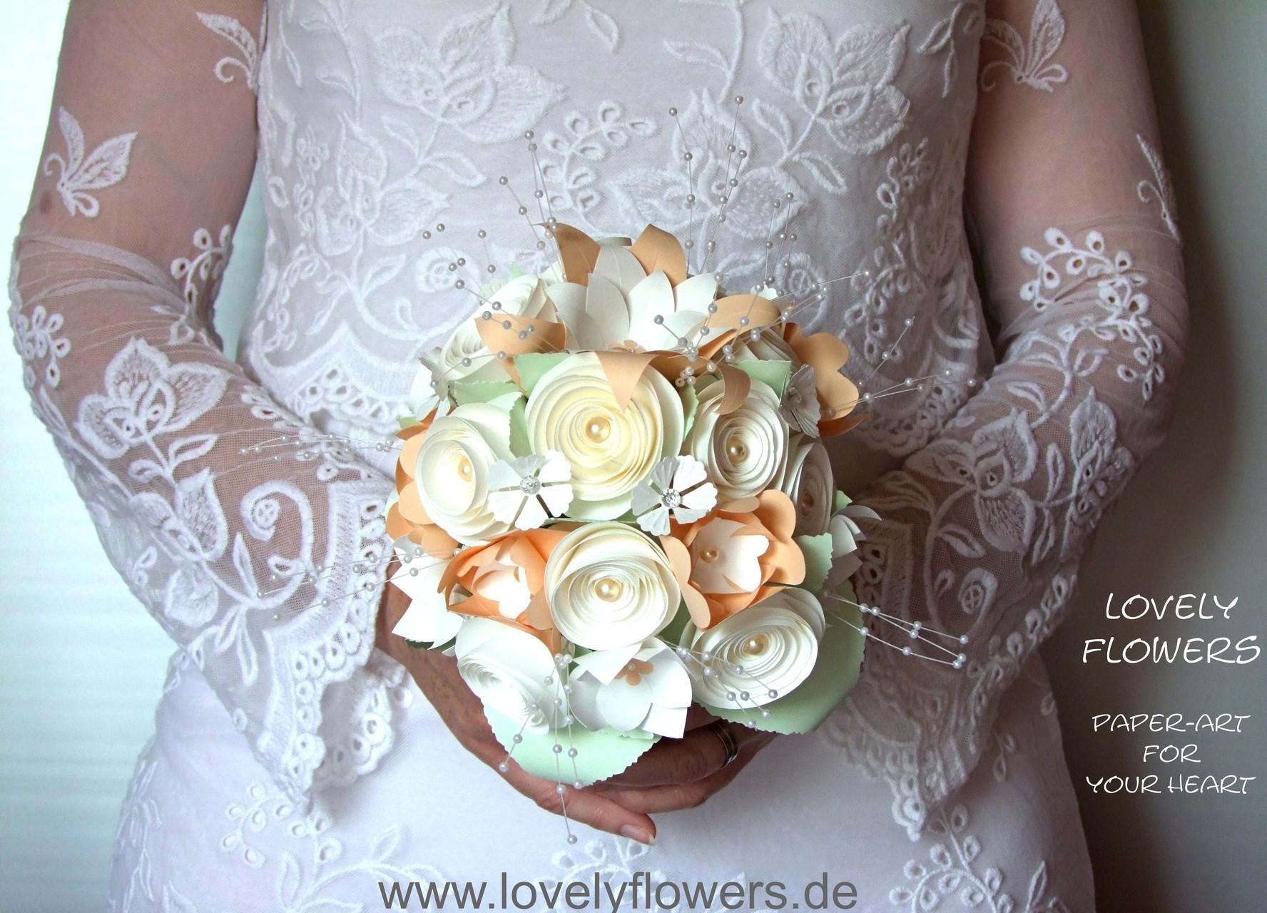 www.lovelyflowers.de - Dein Spezialist für PAPER-ART-Brautbouquets!