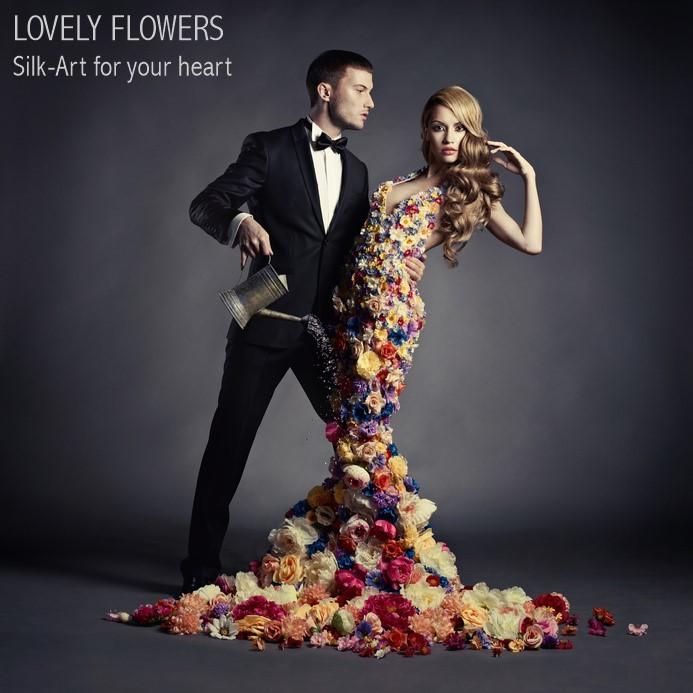 www.lovelyflowers.de zieht Models Seidenblumenschön an:-)
