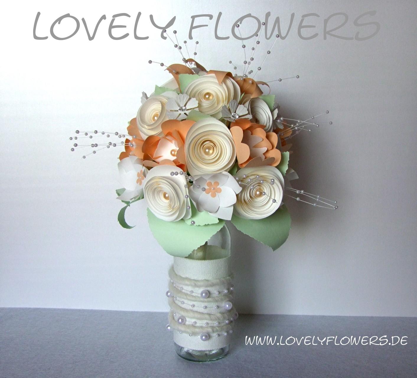 www.lovelyflowers.de - Dein Spezialist für PAPER-ART exklusive Brautsträuße!