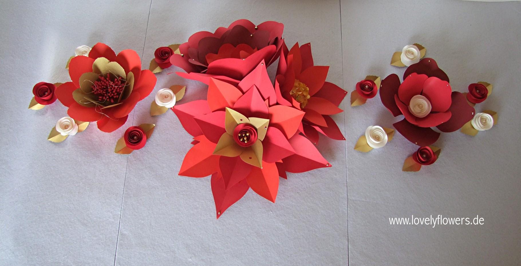 Paper-Art Centerpiece-Dekoration von www.lovelyflowers.de für Tisch, Buffet, Kommode und Schränke