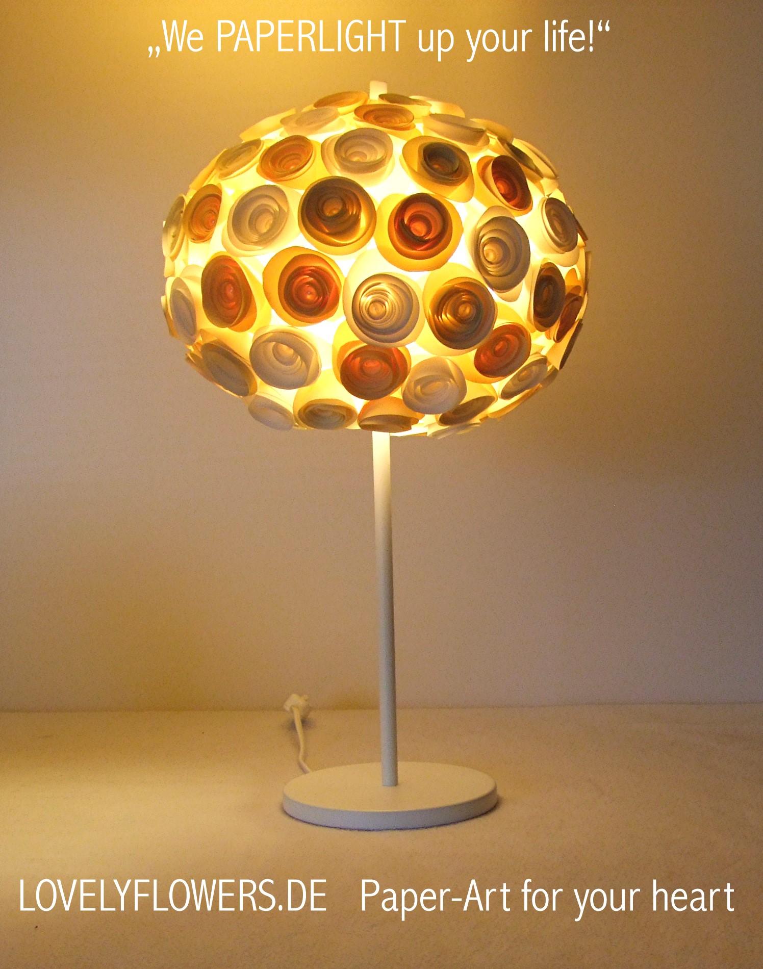 www.lovelyflowers.de - Paper Art Tischlampen sind Abends ein Romantikhighligt!