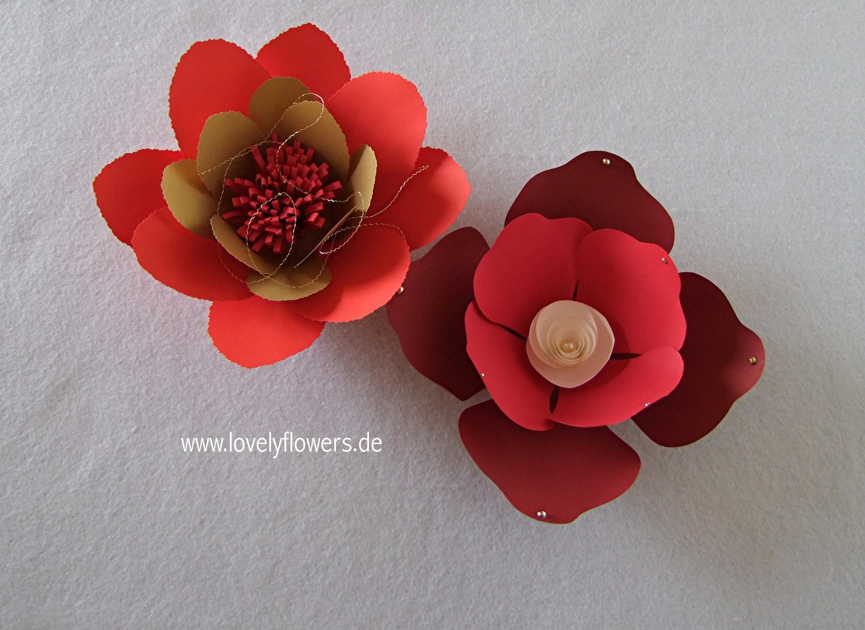Paper-Art Auflageblüten von www.lovelyflowers.de für Tisch, Buffet, Kommode und Schränke
