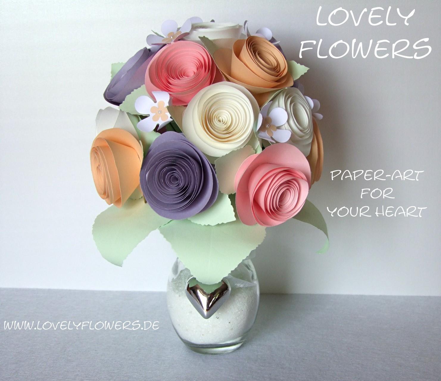 www.lovelyflowers.de - Dein Spezialist für PAPER-ART Blumenbouquets aller Art!