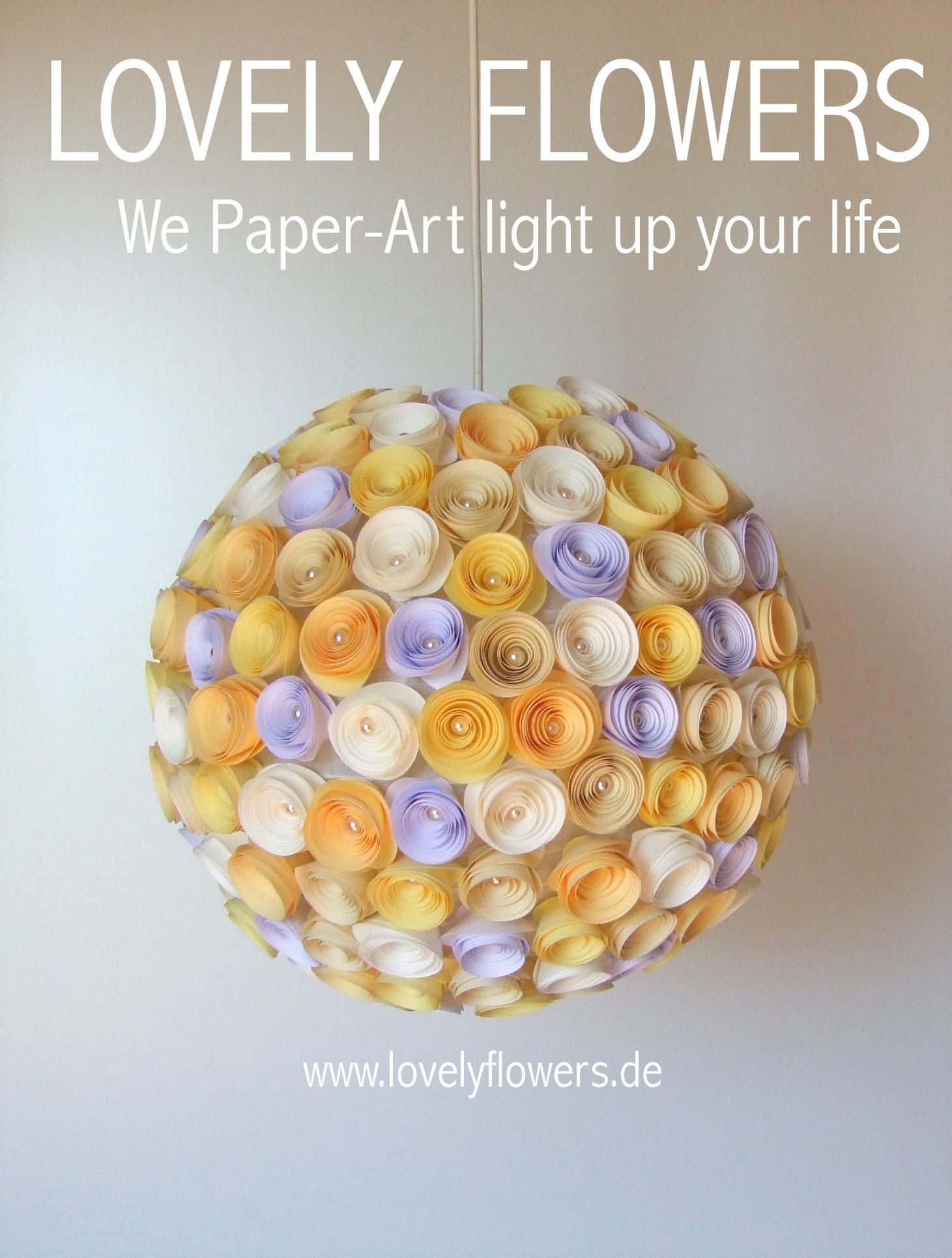 www.lovelyflowers.de - Paper Art Lampen gibts auch als Pendelleuchten und Hängelampen!