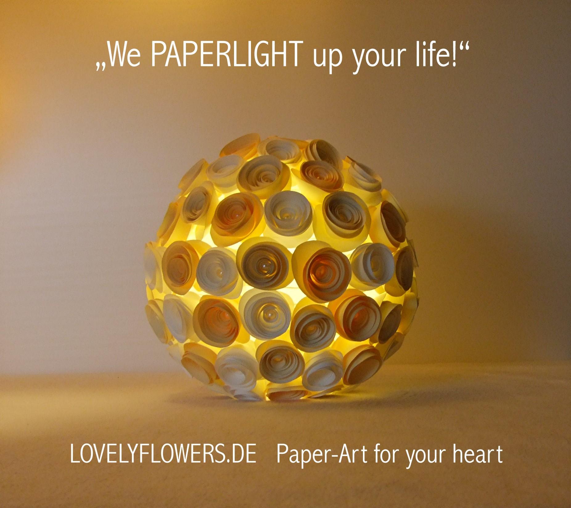 www.lovelyflowers.de - Paper Art Lampen sind auch bei Nacht schön!