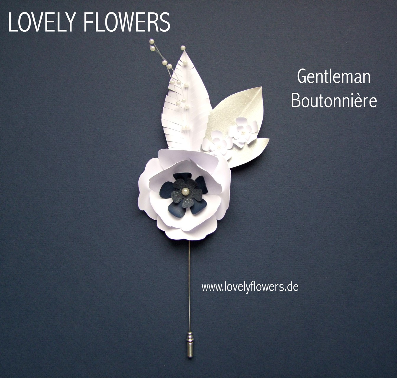 Paper-Art Bräutigam Boutonnière Anzug-/Smoking Ansteckblüte von www.lovelyflowers.de