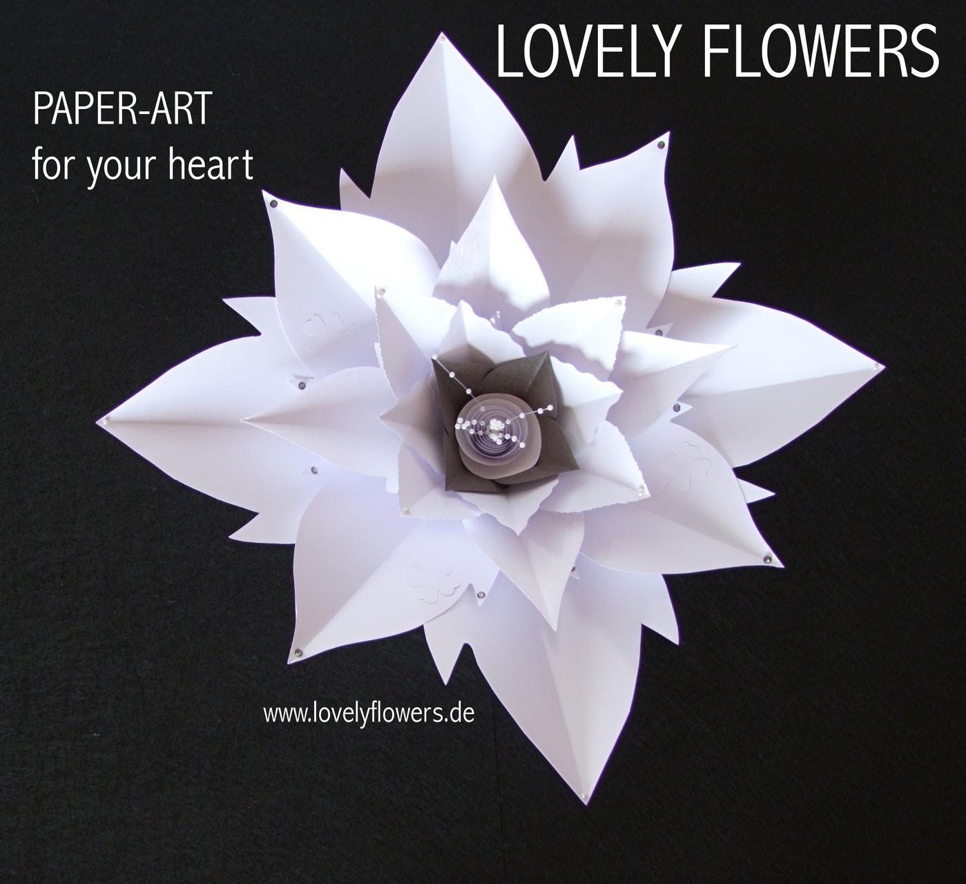 Paper-Art Hochzeitsstrauß Großblüte handmade by www.lovelyflowers.de