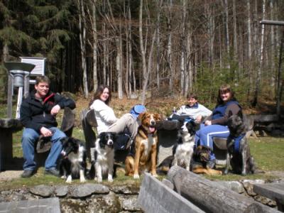 Jörg, Katja, Tom und ich mit Chelsea, Blossom, Cindy, Goldin, Rocky und Sky und hinter der Kamera Angelika und Andreas
