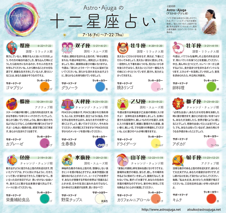 週刊ベイスポ「12星座占い」の連載(7/16〜7/22)