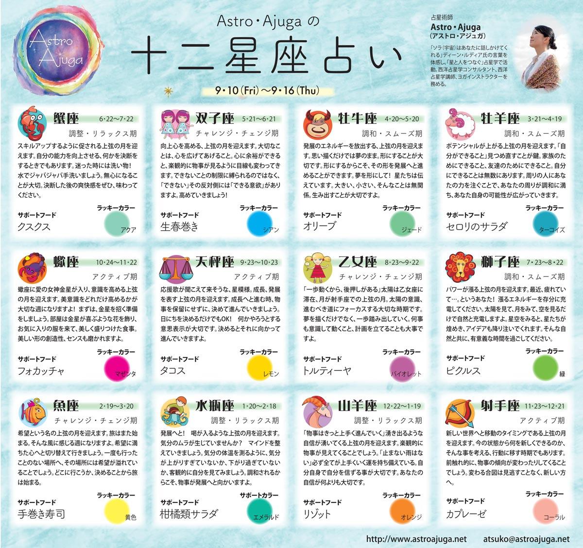 週刊ベイスポ「12星座占い」の連載(9/10〜9/16)