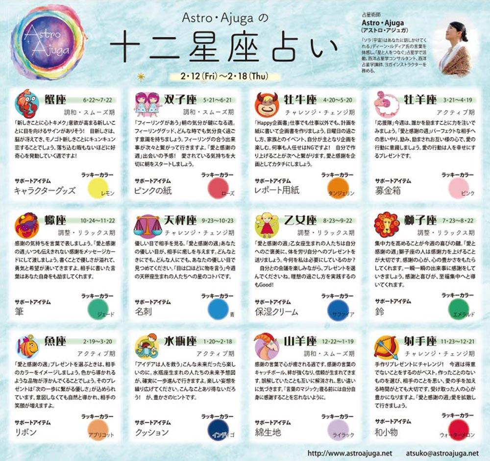 週刊ベイスポ「12星座占い」の連載(2/12〜2/18)