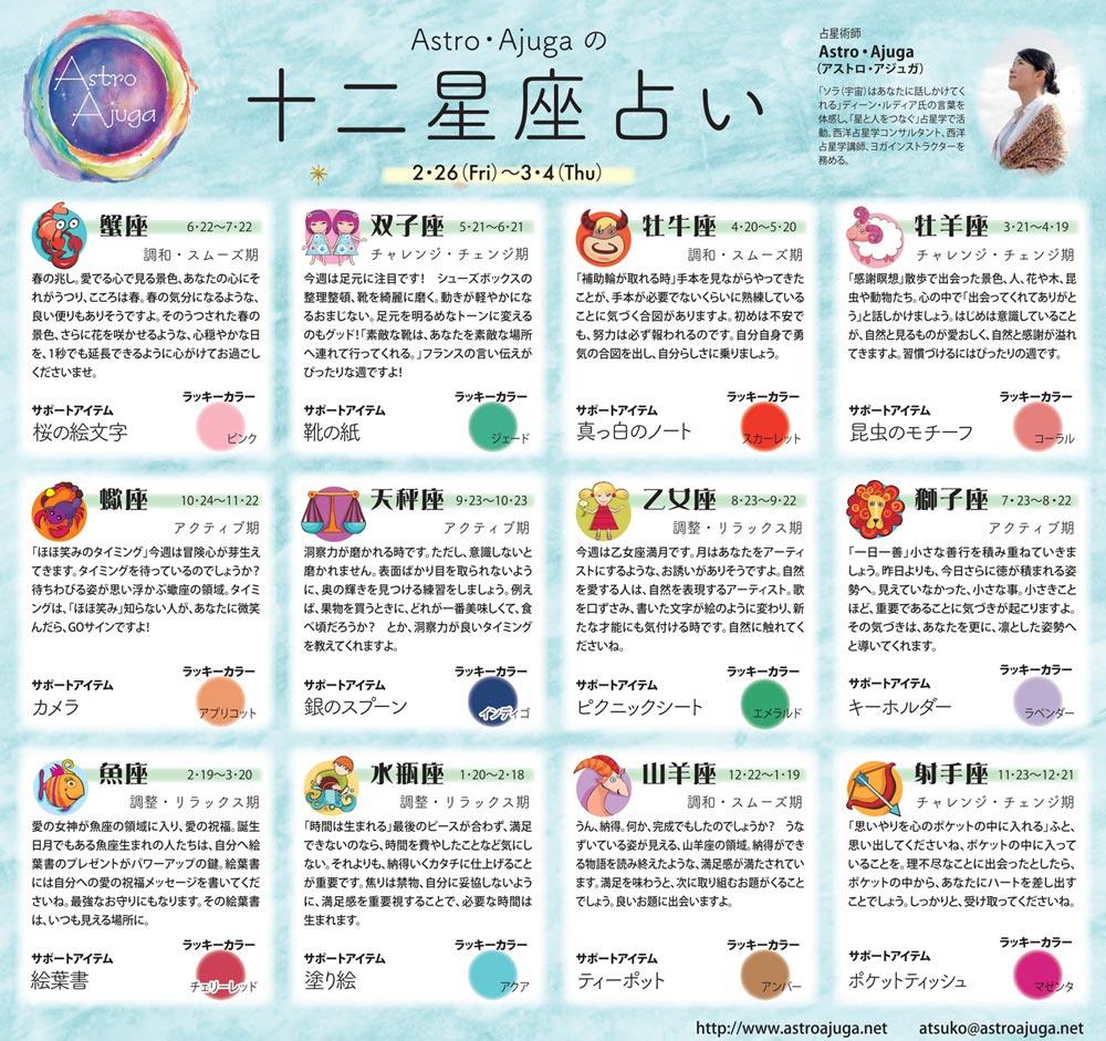 週刊ベイスポ「12星座占い」の連載(2/26〜3/4)