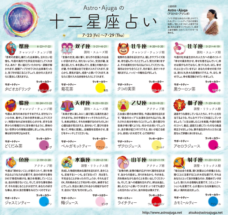週刊ベイスポ「12星座占い」の連載(7/23〜7/29)