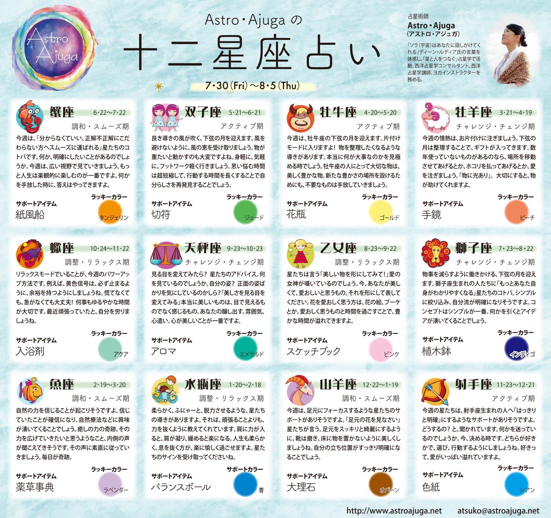 週刊ベイスポ「12星座占い」の連載(7/30〜8/5)
