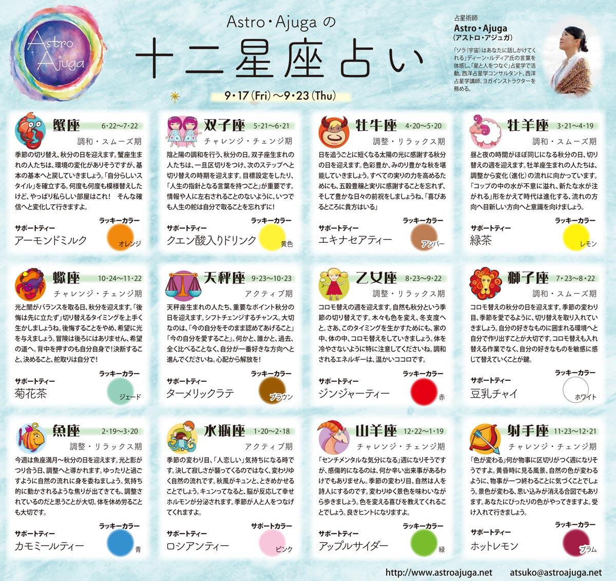 週刊ベイスポ「12星座占い」の連載(9/17〜9/23)