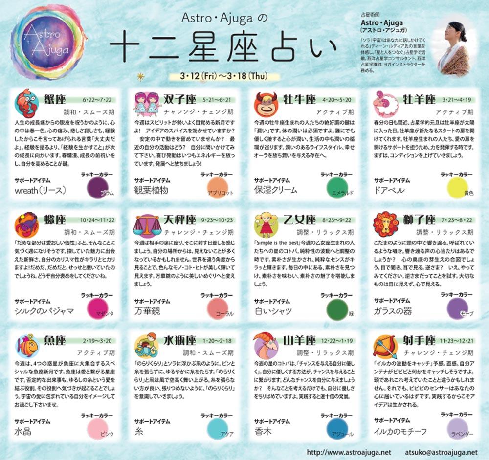 週刊ベイスポ「12星座占い」の連載(3/12〜3/18)
