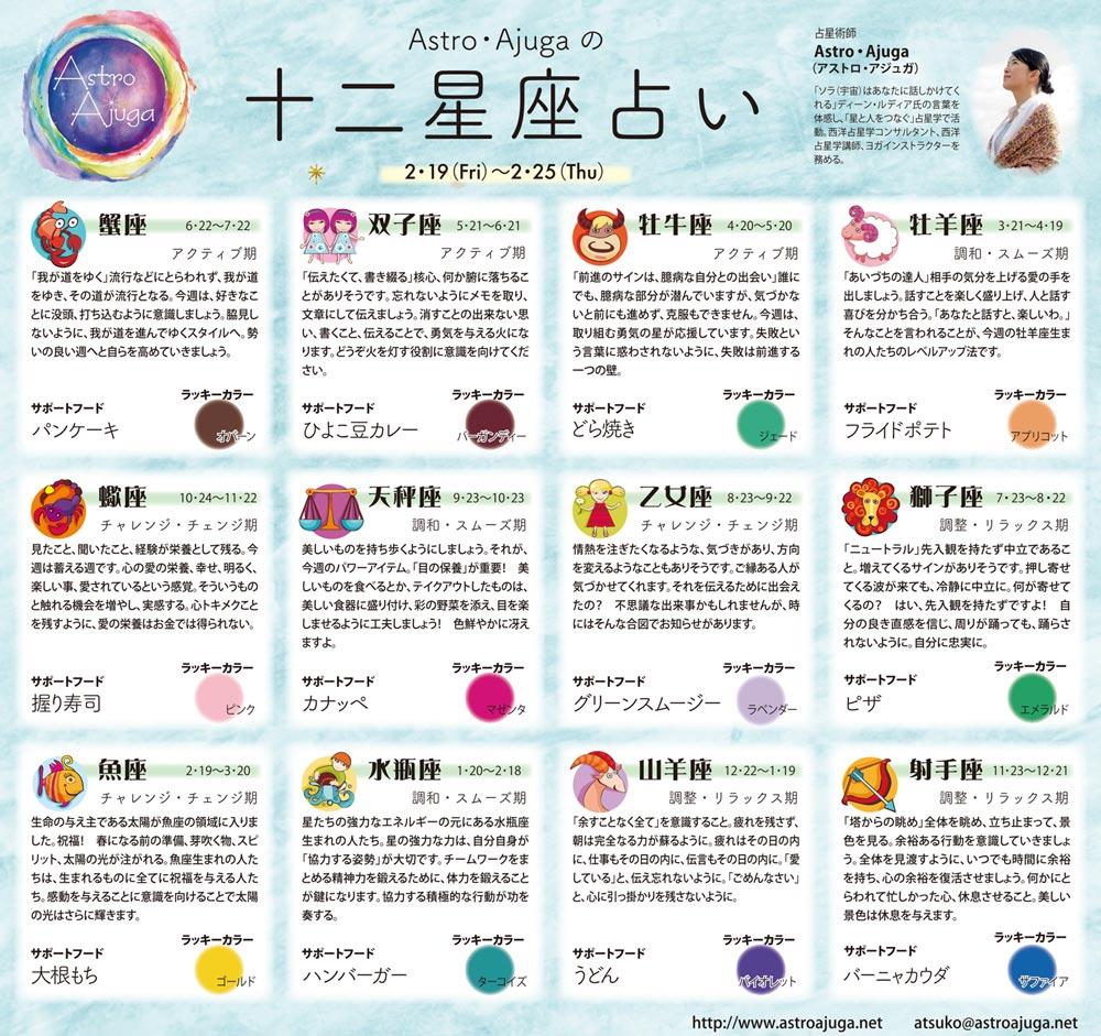 週刊ベイスポ「12星座占い」の連載(2/19〜2/25)