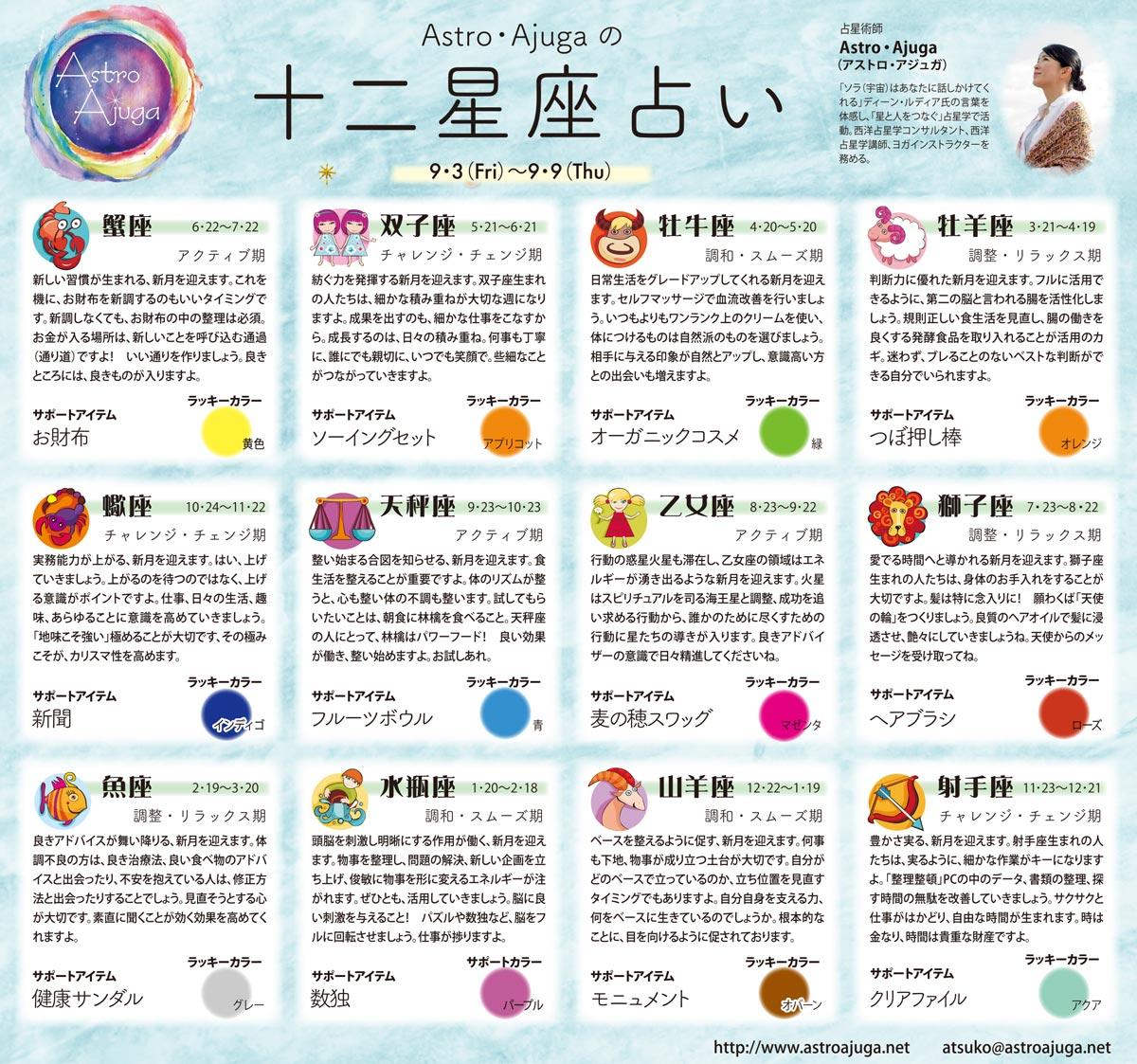 週刊ベイスポ「12星座占い」の連載(9/3〜9/9)