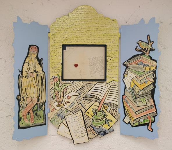 """Moritz Götze,  """"Alexander Humboldts Brief"""", Reliquien, Triptychon mit einem Originalbrief von Alexander Humboldt an den Bildhauer Heinrich Siegel, nach 1846, Emailmalerei, 92 x 100 cm, 2009"""