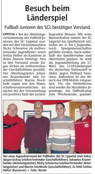 Bericht Soester Anzeiger vom 06.03.2018