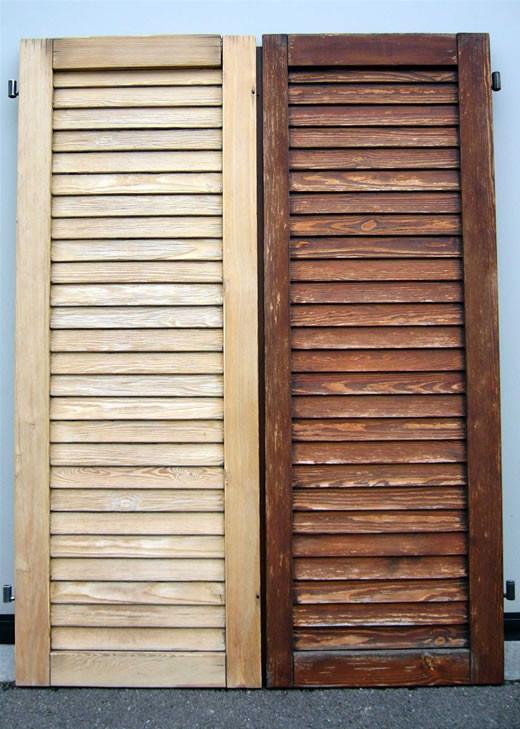 Verniciatura delle persiane in legno a al metro - Verniciare finestre ...