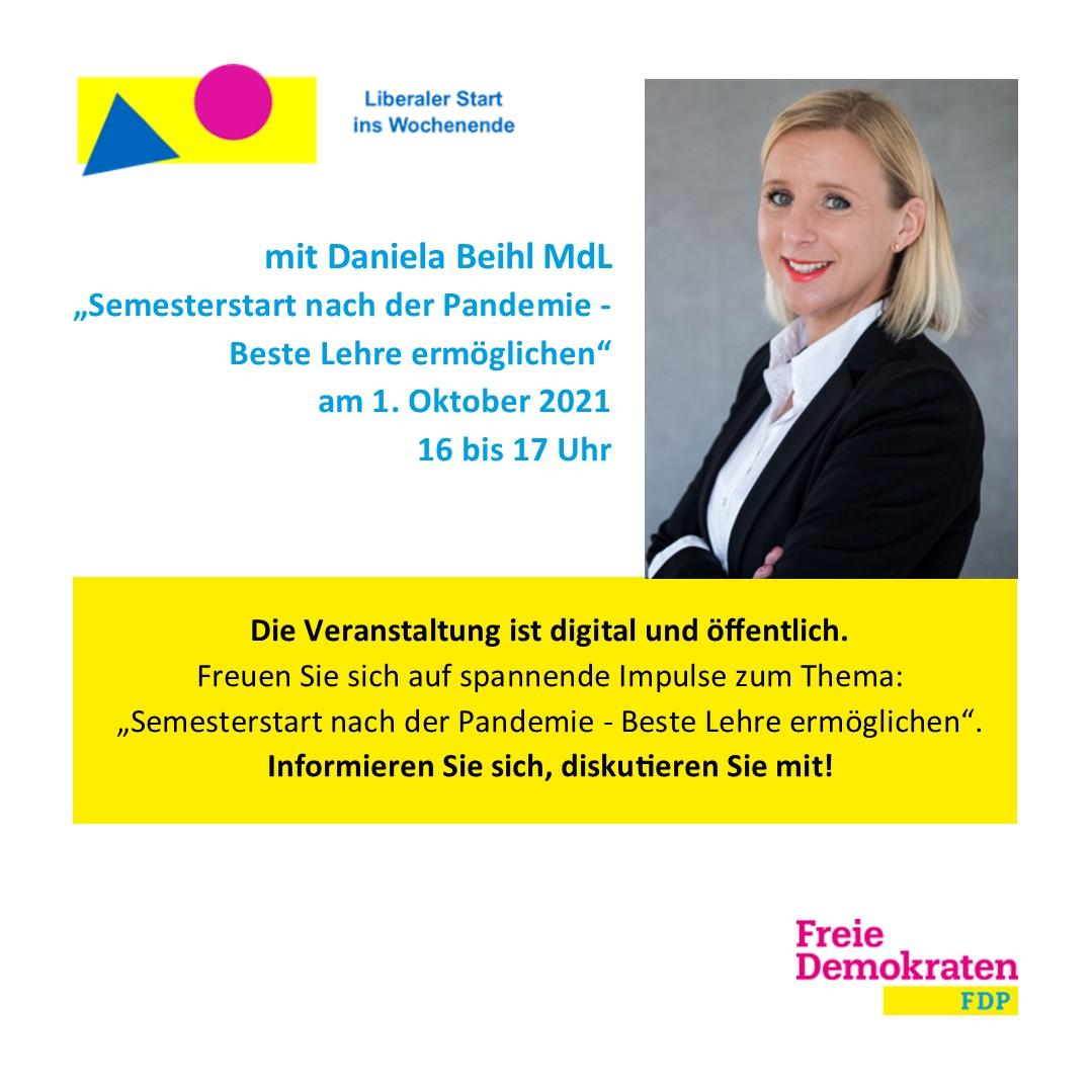 Liberaler Start ins Wochenende mit Daniela Beihl: Semesterstart nach der Pandemie – Beste Lehre ermöglichen