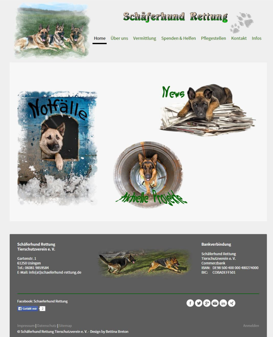 """Alte Website der """"www.schaeferhund-rettung.de"""""""