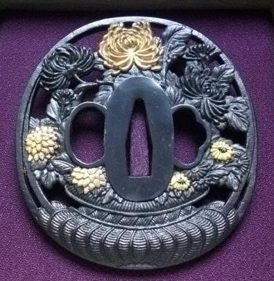 Chrysanthemum - Steel golded Tsuba : HOLD