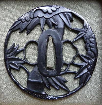 Bamboo Trunk Leafs - Steel Tsuba : HOLD