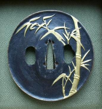 Bamboo Stalk Leafs - Copper golded Tsuba - NOT for Sale !