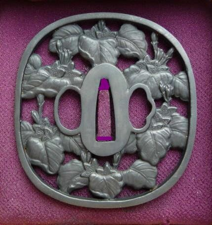 Wine Blossoms/Leafs - Steel Tsuba - SOLD !