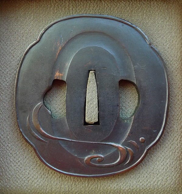 Bamboo Stalks Leafs - Steel copper Tsuba, rear