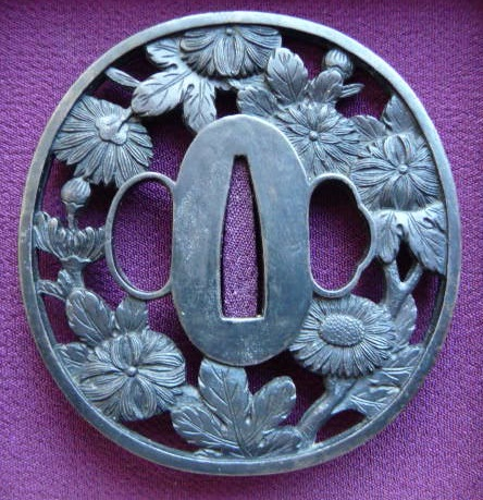 Chrysanthemum - Steel NIHONTO Tsuba - SOLD !