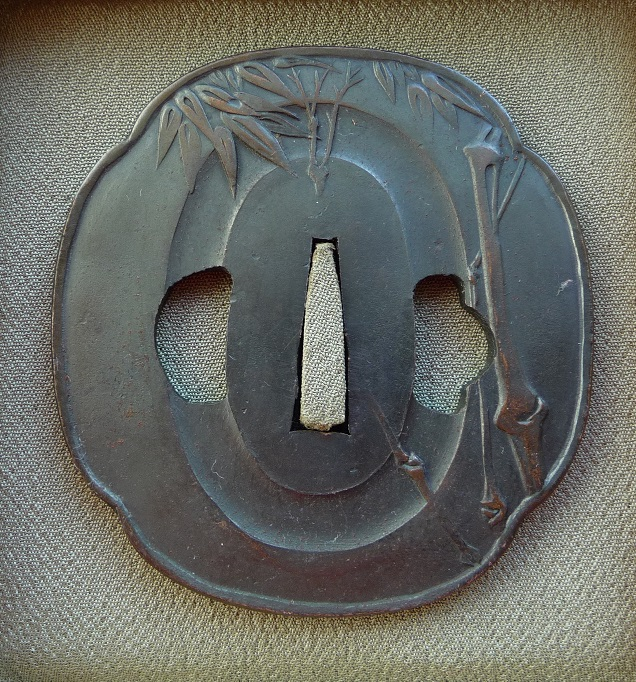 Bamboo Stalks Leafs - Steel copper Tsuba : HOLD