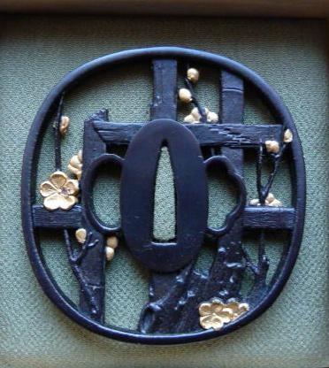 Plum / Fence - Steel golden Tsuba : HOLD