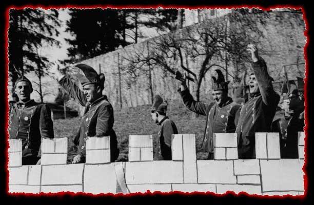Umzug in Randegg - von links nach rechts: Martin Brütsch, Josef Schwarz, Martin Hiestand, Emil Schopper, Gerhard Handloser