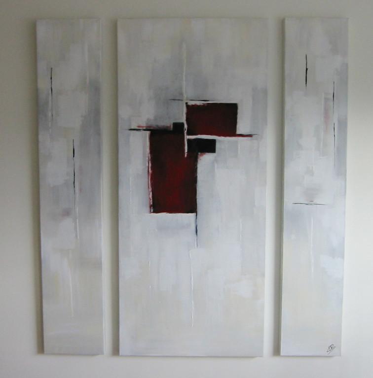 Triptychon mit Rot - Acryl auf Leinwand/Mischtechnik