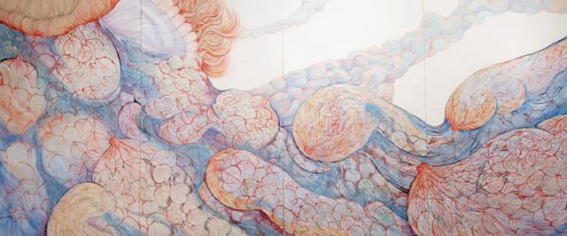 [ありがとうとごめんなさいは似ている]    162cm×400cm   麻紙に岩絵具                                                                                                [Sorry and Thank you are a lot alike]    Pure pigment on Japanese Paper