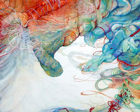[静寂と腕]   130.3cm×162cm   麻紙に岩絵具                                                   [Arm and silence]     Pure pigment on Japanese Paper