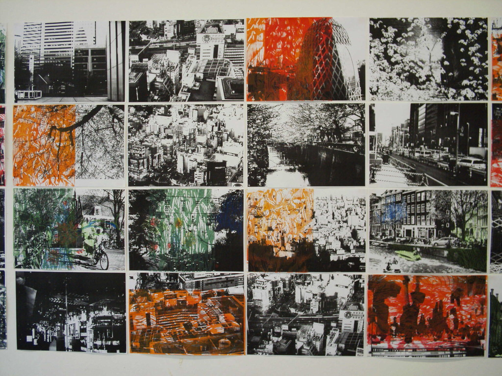 Life Amsterdam-Tokyo  2009年 技法:レーザーコピープリントに木版モノタイプ、ドローイング イメージサイズ:H 118.8 x W 420.0 cm (A3:H 29.7 x W 42.0 cm x 40点による構成)