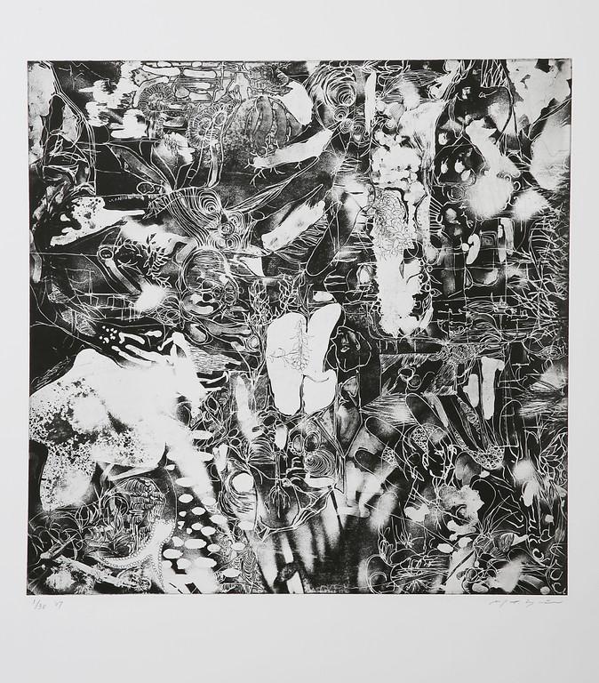 夜 銅版画  45x45cm