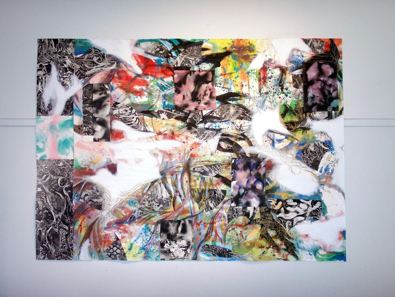 「Clouds」銅版画、紙コラージュ、  アクリル、ドローイング  2007/2008年  メルボルン(オーストラリア) 個人蔵