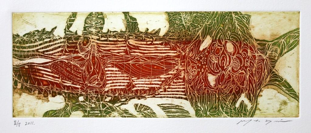小さな海 カラー銅版画 10x27cm