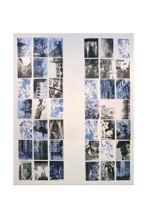 サムウエア・イン・Europe 2008年 レーザーコピープリント、木版他 組み作品