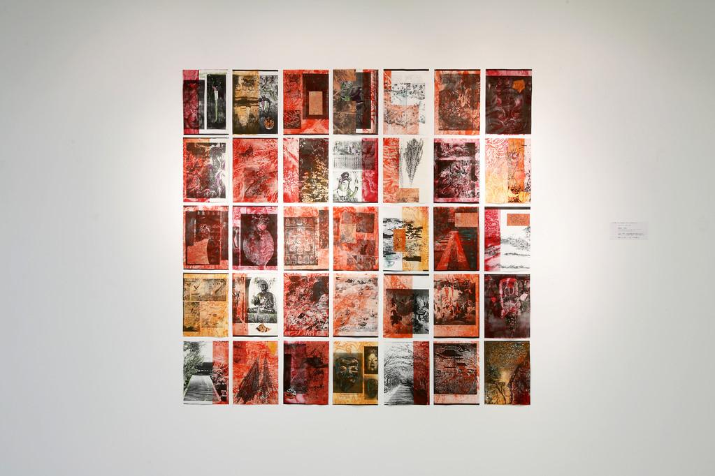 想像・日本美術への旅  2009年 技法:トナーコピープリントにエッチング、ドローイング イメージサイズ:H 148.5 x W 147.0 cm (A4:H 29.7 x W 21.0 cm x 35点による構成)