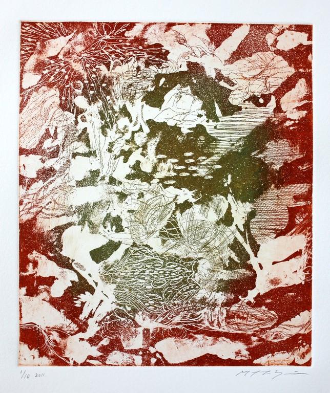 スクロヴェー二の朝 カラー銅版画 29x25cm