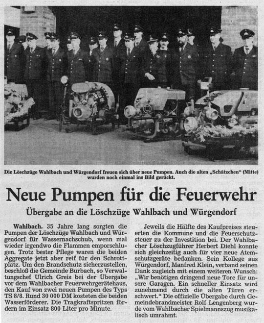 14.04.1992 Rosenbauer TS 8/8 ersetzt alte Pumpe